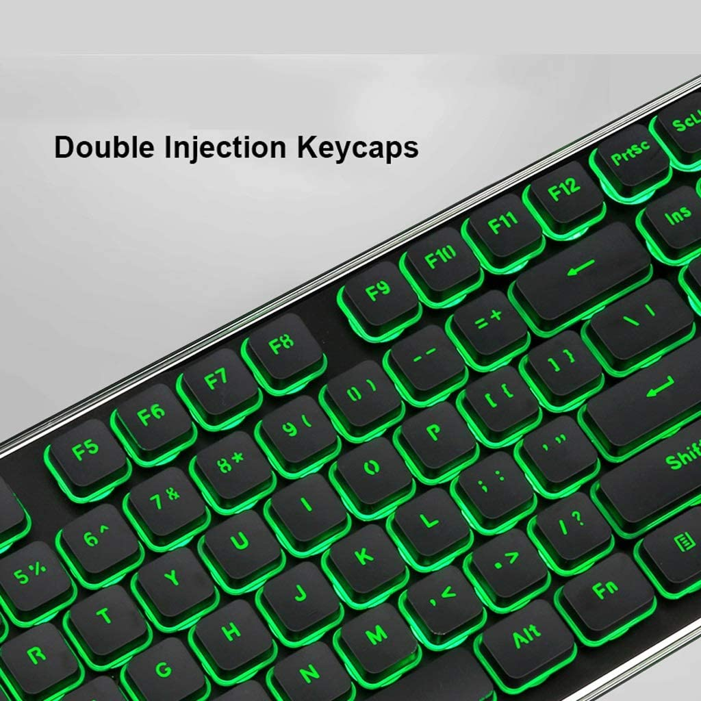 OFNMD Office Ultra-Thin Keyboard,4 Buttons Mice,Green Backlit Wireless 2.4GHZ Chocolate Keycaps Water Resistant Anti-ghosting No Lagging for Windows7//8//10 iOS QWERTY Key