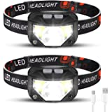 Rechargeable Headlamp 2 Packs, LED Headlamp, Head lamps for Adults, Flashlight with White Red Lights, USB Rechargeable Waterp