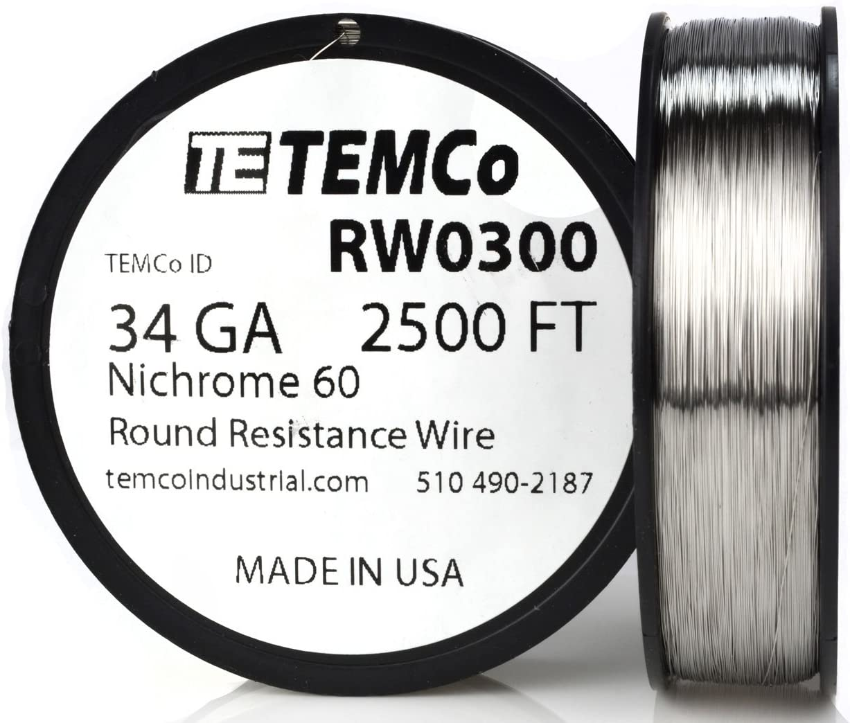 TEMCo Nichrome 60 series wire 34 Gauge 100 Ft Resistance AWG ga