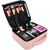 Samtour Travel Makeup Train Case Makeup Cosmetic Case Organizer Portable Artist Storage Bag 10.3 inches with Adjustable Dividers for Cosmetics Makeup Brushes Toiletry Jewelry (Pink)