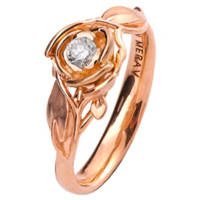 Amazon Com Rose Diamond Leaves Engagement Ring For Women His And