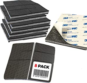 """""""SlipToGrip"""" Non Slip Furniture Pad Grippers with Adhesive Side (8 Pack) - Stops Slide - Multi Size - Make 4"""", 1"""", 2"""", etc.- Pre-Scored Multiple Sizes - 3/8"""" Felt Core - Never Marks. Patent Pending"""
