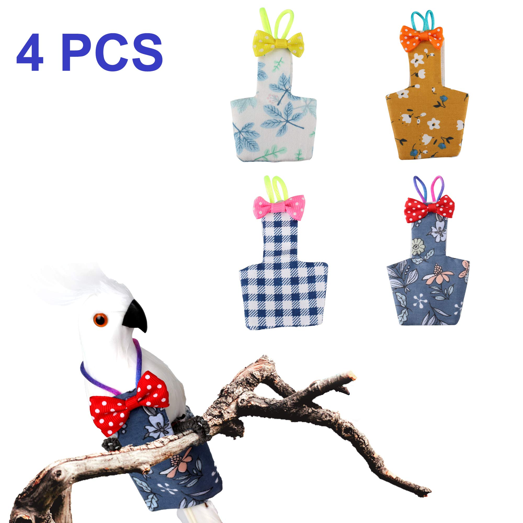 Lovinouse 4PCS Bird Diaper, Reusable Washable Bird Flight Suit for Budgie Parakeet Cockatiel Cockatoo African Macaw (M) by Lovinouse