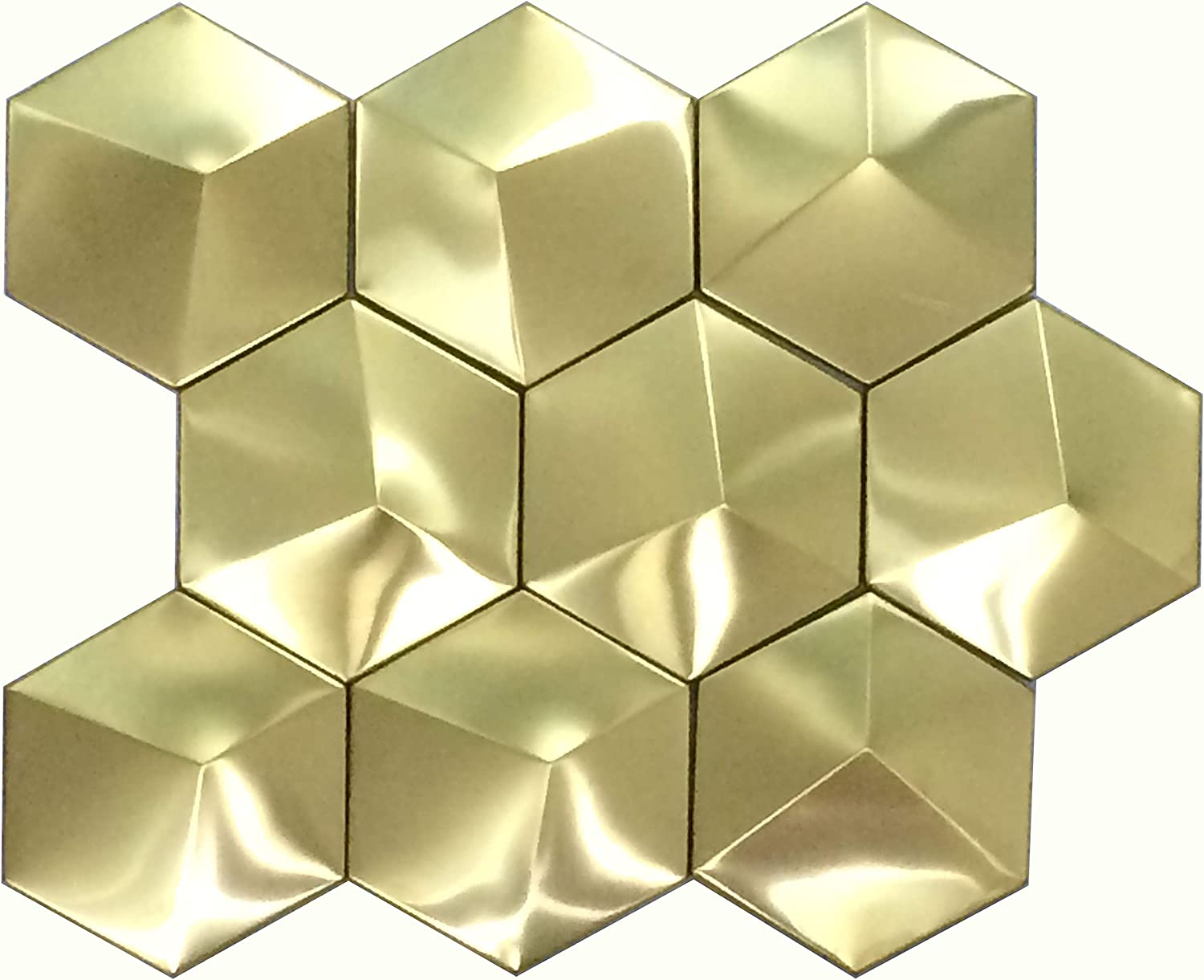 - Hominter 11-Sheets Gold Stainless Steel Accent Tile, Big Hexagon