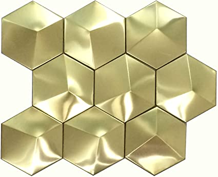 Hominter 11-Sheets Gold Stainless Steel Accent Tile, Big Hexagon 3D Pyramid  Bathroom Wall Tiles, Metallic Mosaic Kitchen Backsplash Tile XGMT002