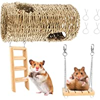 Ancid Hamster Chew Toy, 3 Piece Hanging Cage Toy Set with Wooden Ladder, Swing Hammock, Swing, Small Animal Hanging Toys…