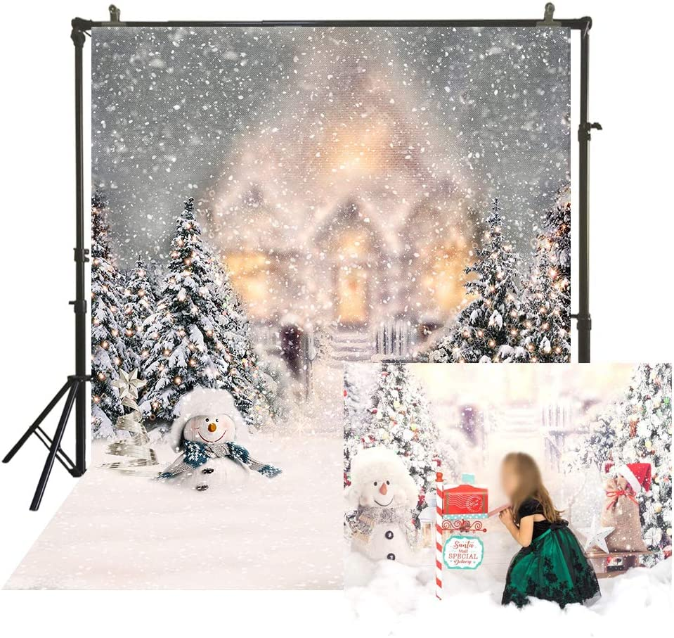 BINQOO 8x6ft Christmas Wooden Snowflake Star Tree Backdrop Xmas Winter Wood Snowflake Gingerbread Man Candle Gifts Bells Photography Background Decoration for Photo