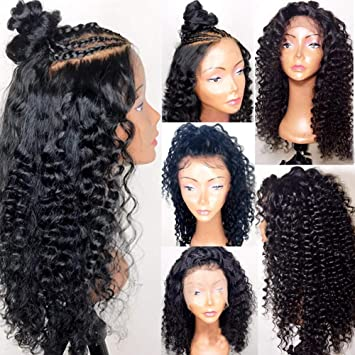 68413b23c Glueless Lace Front Wigs with Baby Hair Pre Plucked Full Lace Human Hair Wig  for Black