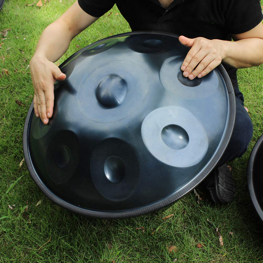 Hippopy hang drum 9 Notes Hand Pan Handpan Hand Drum Carbon Steel Material Percussion Instrument with Carry Bag Metal Stand