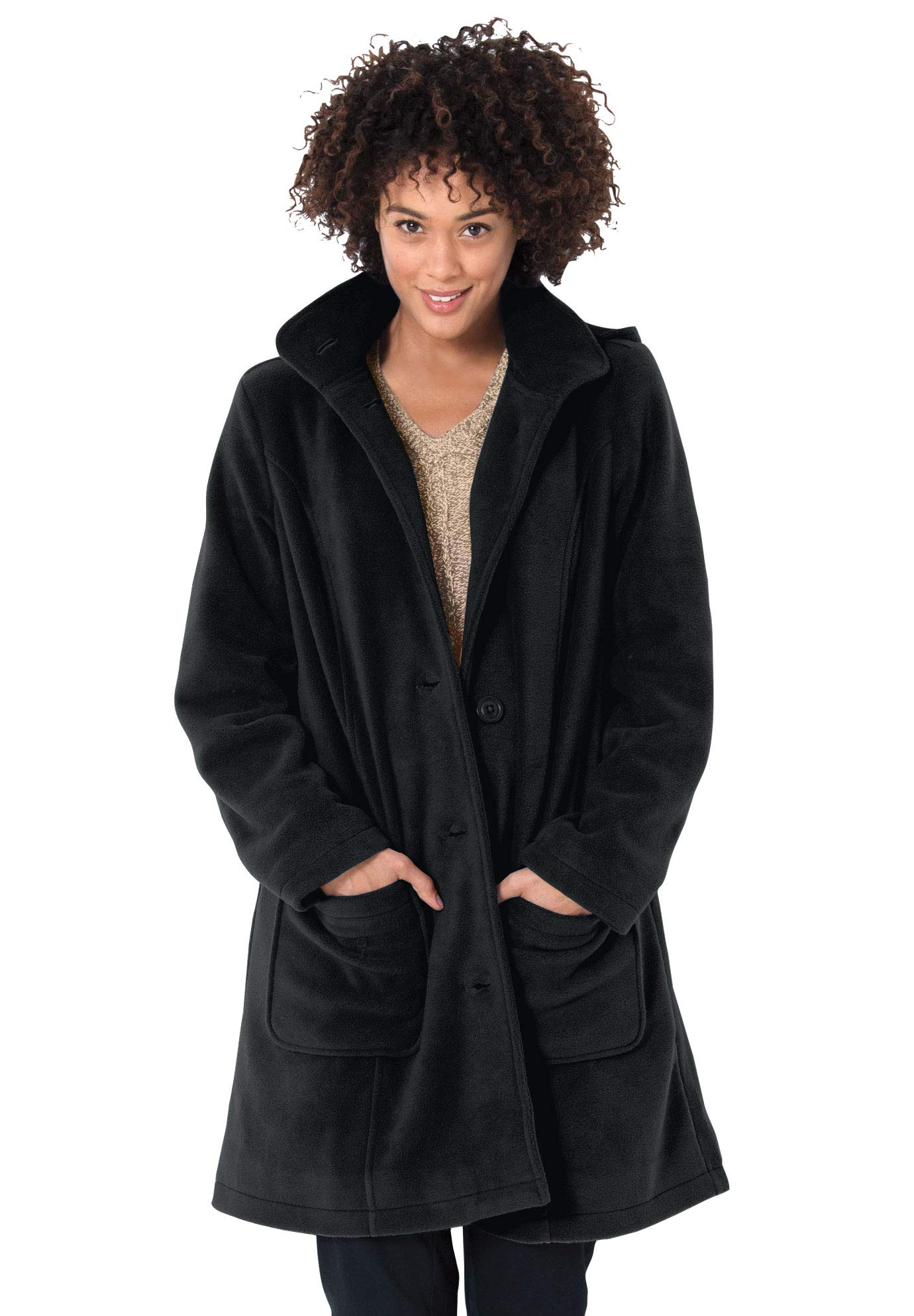 Woman Within Women's Plus Size Hooded A-Line Fleece Coat - Black, 24 W by Woman Within
