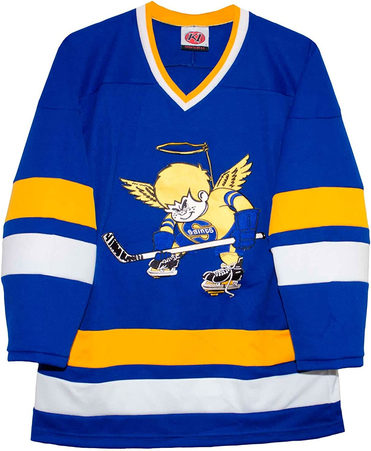 K-1 Sportswear Minnesota Fighting Saints Blue Away Vintage WHA Hockey Jersey