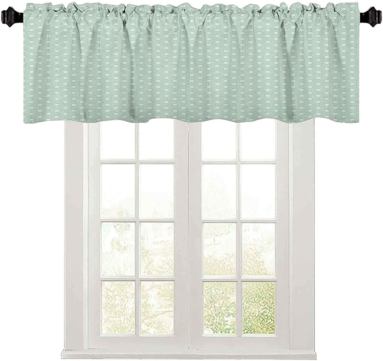 Window valances, Retro Style Baby Nursery Themed Pattern with Little White Polka Dots Pastel, 36