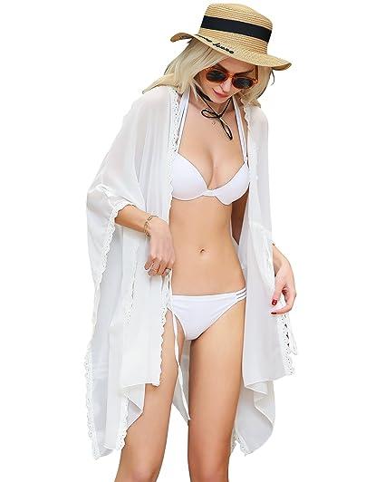 DQdq Women s Swimsuit Cover Ups Beachwear Cardigan White One Size ... 59c45facb667