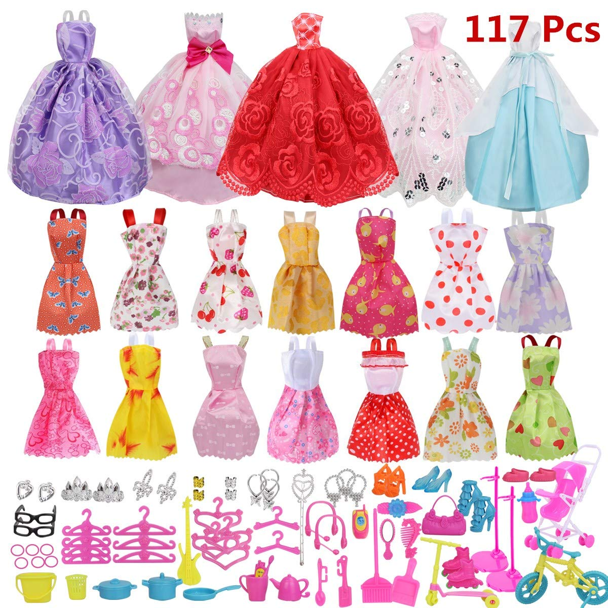 Doll Clothes Party Gown Outfits And Accessories for Barbie (Bubble skirt)