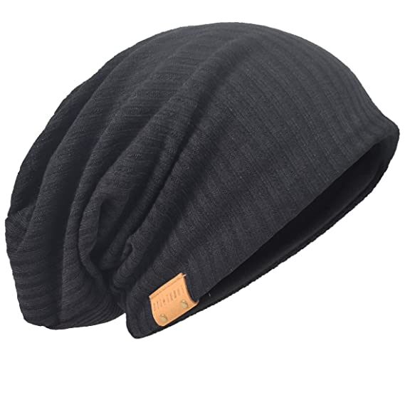 4ce1f4b9b6fb1 HISSHE Oversize Baggy Slouch Beanie Large Slouchy Skullcap Winter Summer Hat  (Black)