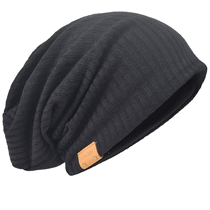 f935fed97ab HISSHE Oversize Baggy Slouch Beanie Large Slouchy Skullcap Winter Summer  Hat (Black)