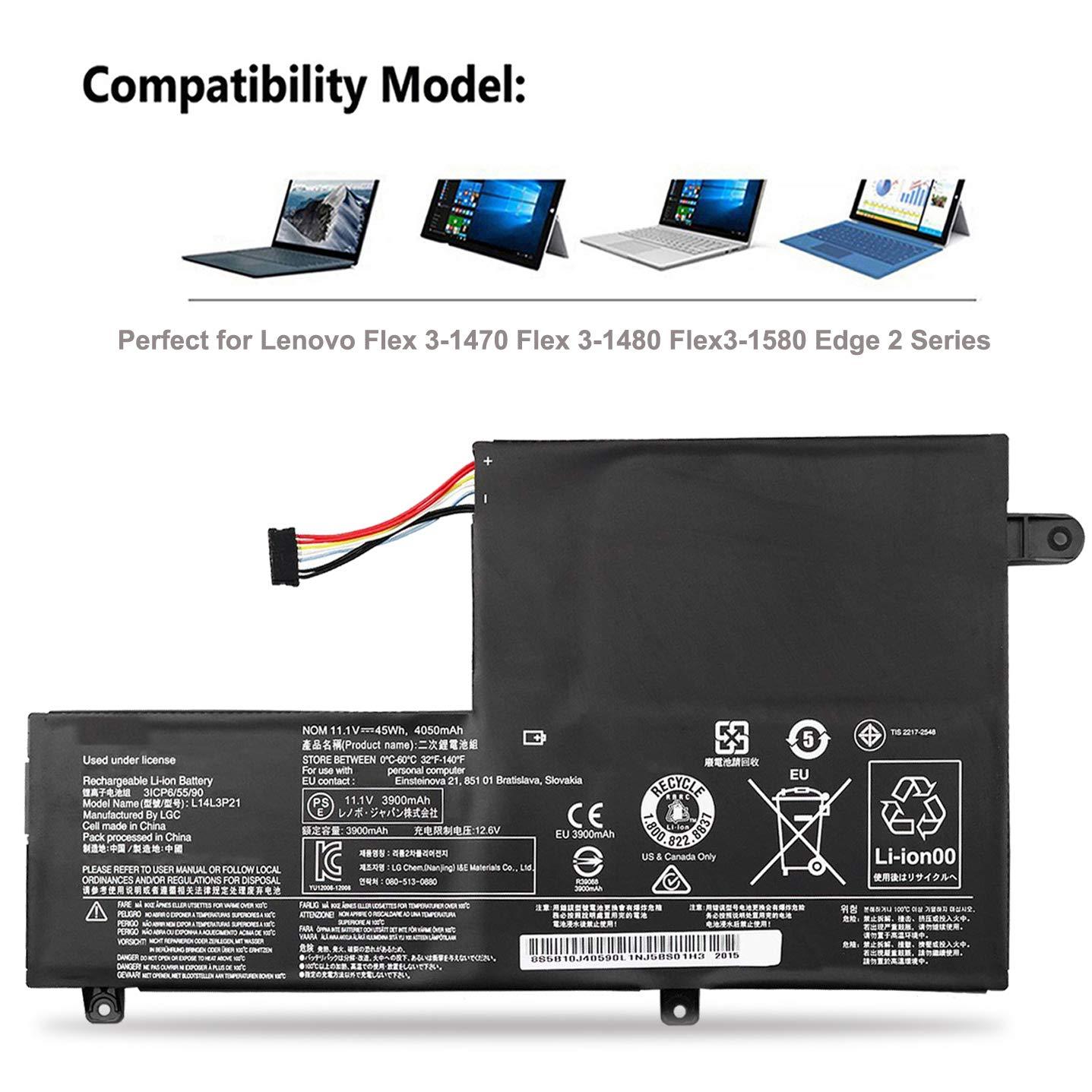 EMAKS Compatible with L14L3P21 / L14M3P21 Battery Lenovo Flex 3 14 15 1435/1470/1480/1570/1580 3-14-ALEI 14-IFI 14-ISE;IdeaPad 310S-14AST 510S-14ISK ...