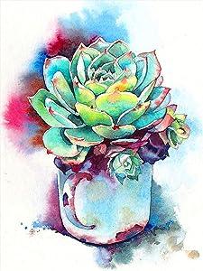 Bimkole 5D Diamond Painting Kits Green Plants Pots, Full Drill Flowers DIY Rhinestone Embroidery Set Paint with Diamonds Art by Number Kits Cross Stitch Home Wall Craft Decoration (12x16inch)