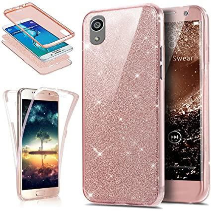 cheaper c4873 a5293 Sony Xperia X Case,ikasus [Full-Body 360 Coverage Protective] Crystal Clear  2in1 Sparkly Shiny Glitter Bling Front Back Full Coverage Soft Clear TPU ...