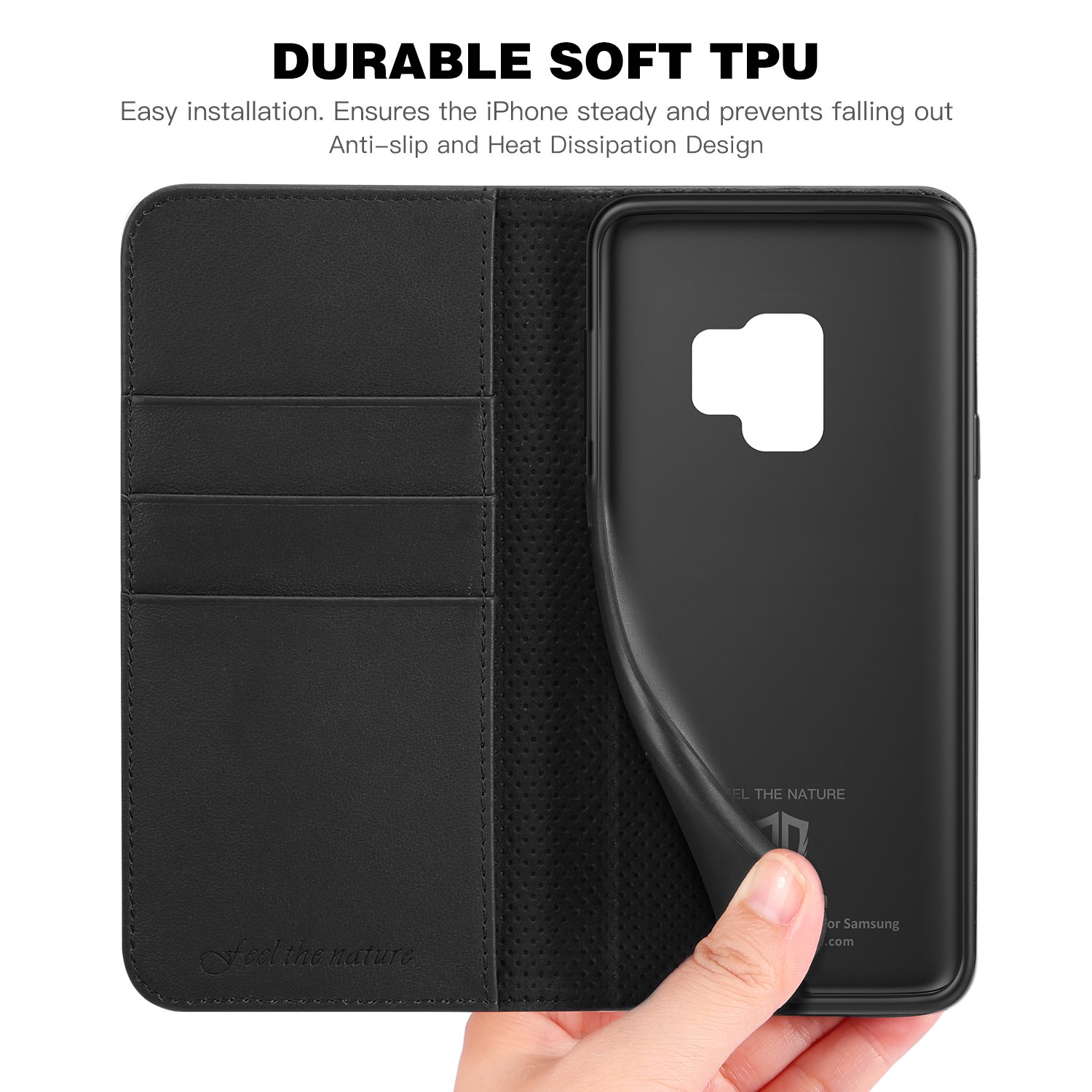 2018 Release - Blue SHIELDON Folio Flip Book Design Genuine Leather S9 Wallet Cover Credit Card Slot Magnetic Closure Compatible with Galaxy S9 5.8 inch Galaxy S9 Wallet Case