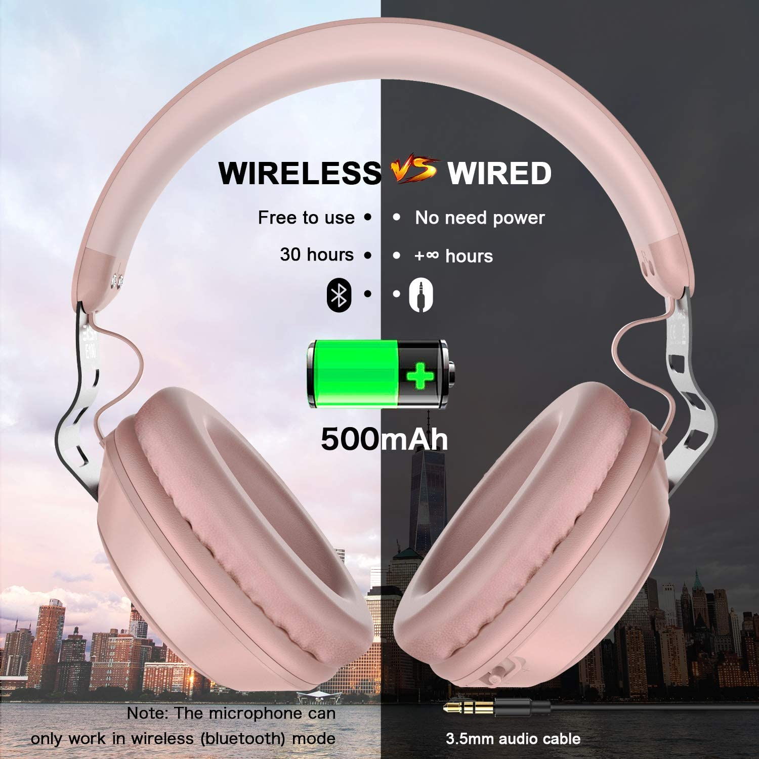 Rose Gold Eksa Over Ear Bluetooth Headphones 30 Hours Play Time Wireless Headset With Built In Microphone 40mm Driver Thumping Bass Supports Hands Free Calling And Wired Mode For Women Girls Kids Dj Headphones