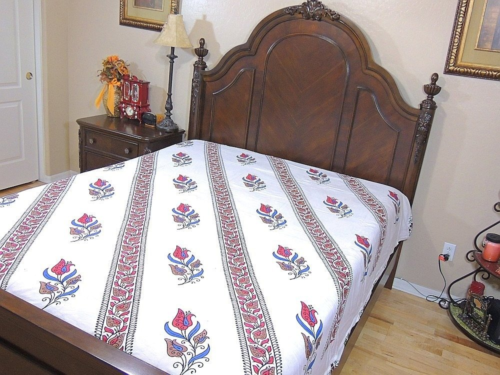 India Inspired Bedding Duvet White Block Printed Cotton Reversible Queen Linens by NovaHaat (Image #2)