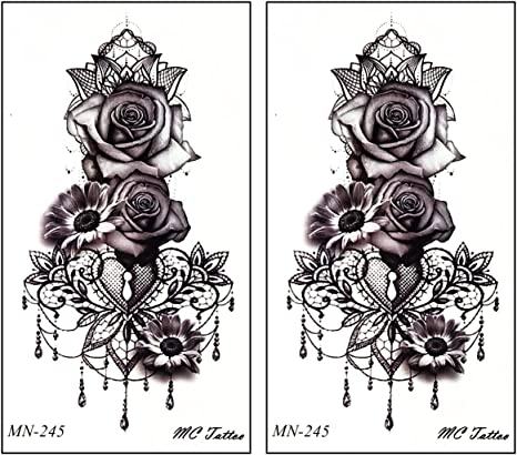 Amazon Com Mini Tattoos 2 Sheets Rose Daisy Flowers Garden Cartoon Tattoos Art Body Fake Tattoo Temporary Waterproof Make Up Neck Shoulder Upper Arm For Men Women 09 Arts Crafts Sewing
