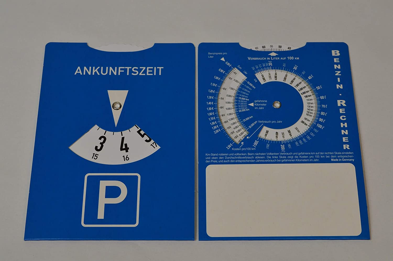 Unbekannt 10 X Parkscheiben mit Benzinrechner aus Pappe f/ür KFZ Parkscheibe Parken mit Werbefeld f/ür Stempeleindruck usw Wurfware
