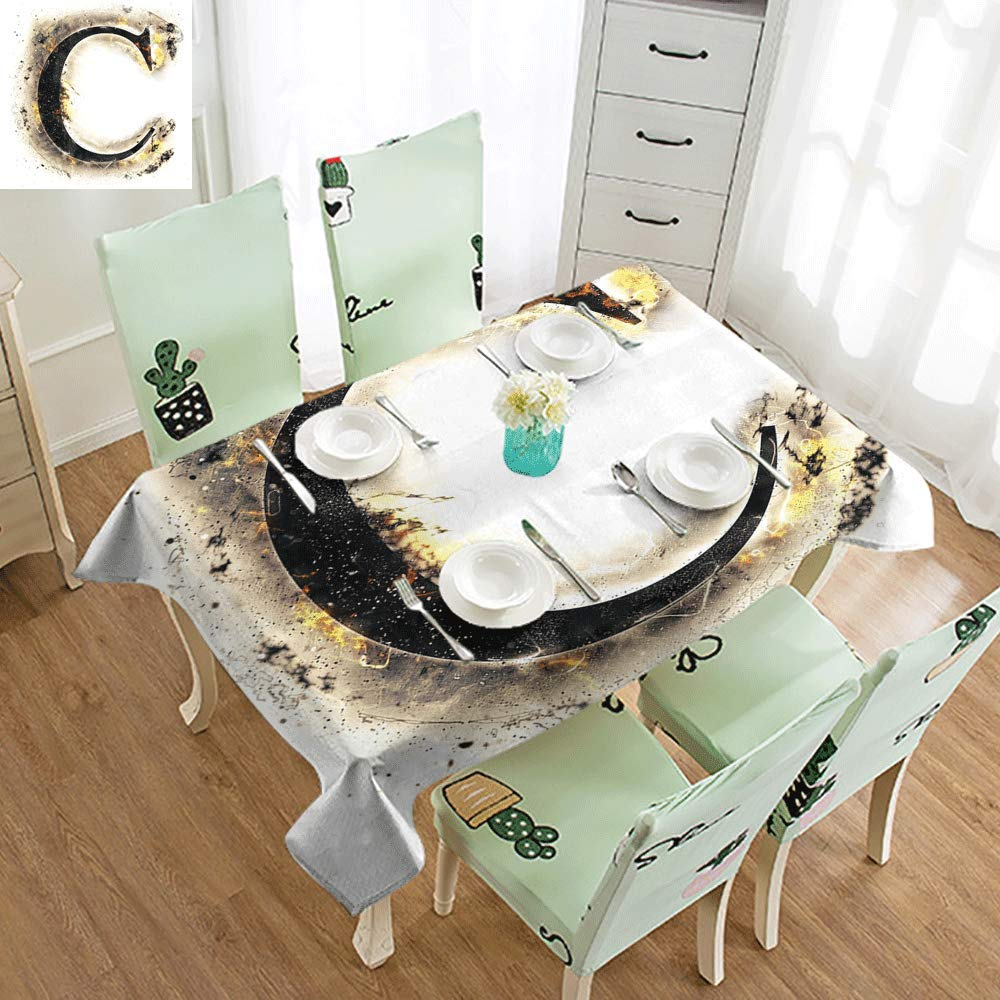 Tablecloths Letter C,Letter C Flaming Backdrop Combusted Alphabet Symbol Paper Effect Writing,Tan Black Yellow W60 xL120,Rectangle Tablecloth
