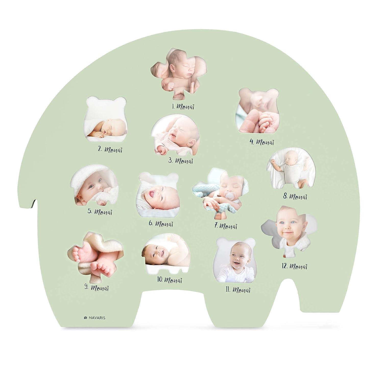 erstes Lebensjahr Holzfaser Rahmen f/ür Baby Fotos Navaris Bilderrahmen f/ür Baby Bilder Deutsch Monatsbilderrahmen f/ür die ersten 12 Monate