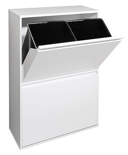 Arregui Basic Cubo de Reciclaje con 4 Cubetas, Metal, Blanco, 24.5x90.
