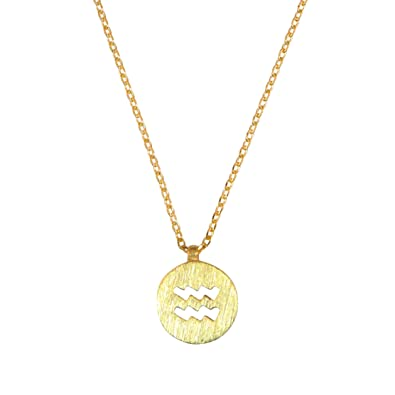 color men gold zodiac charms women pendant necklace aquarius silver simple jewelry item rhinestone gift