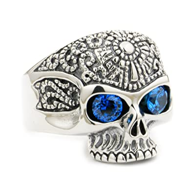 f7f8fe30bde6 LINSION Gothic Floral Skull Ring 925 Sterling Silver Blue CZ Eyes Biker Rock  Christmas Gift 9K120-B  Amazon.co.uk  Jewellery