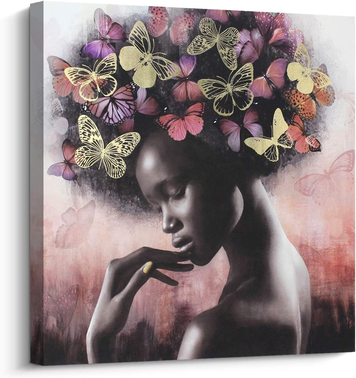 Canvas Wall Art Beautiful Women Picture Gold, African American Art Wall Painting for Home Decor (24x24 inch, A)