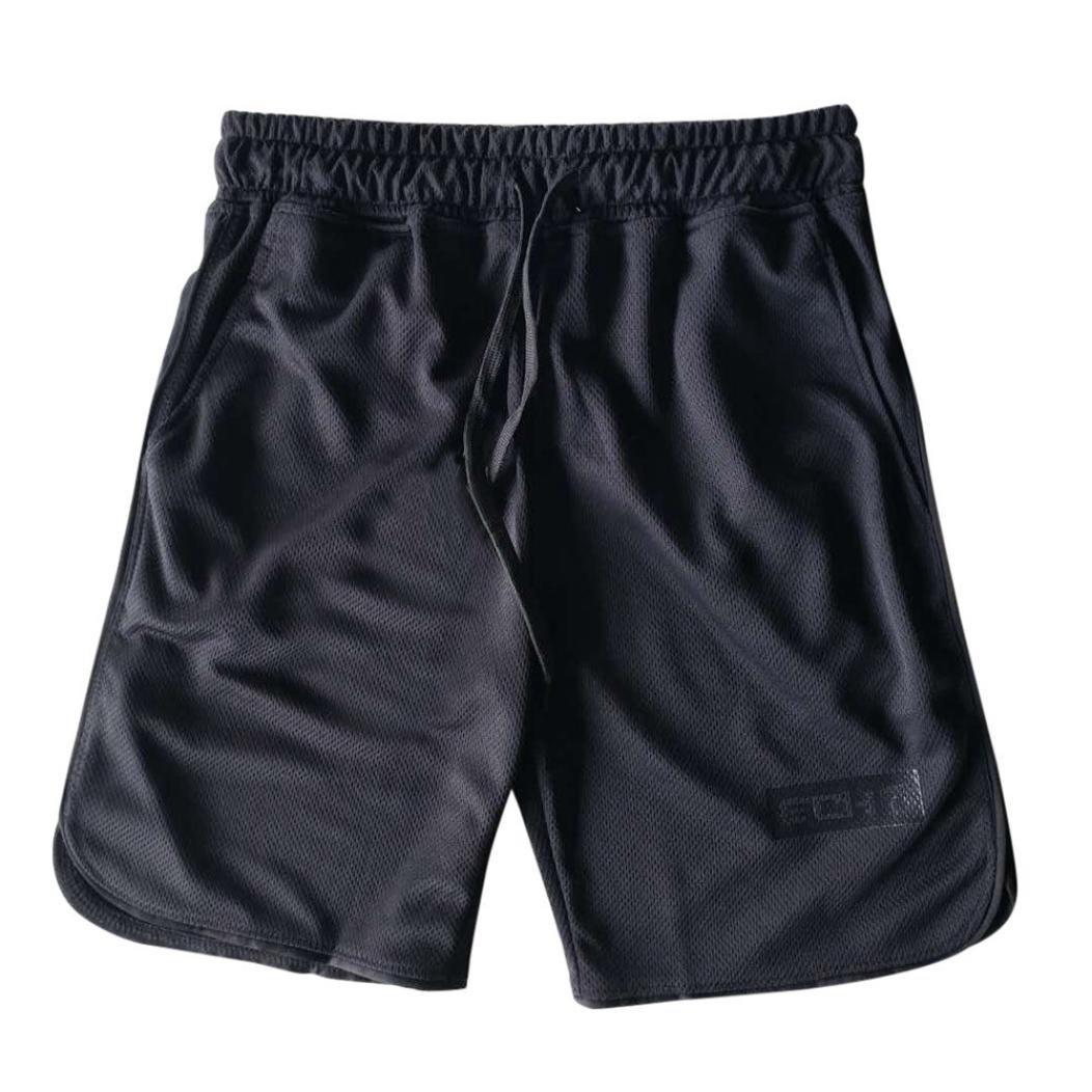 Binmer Clearance Sale Men's Sports Training Bodybuilding Summer Shorts Workout Fitness Gym Short Pants (L, Black)