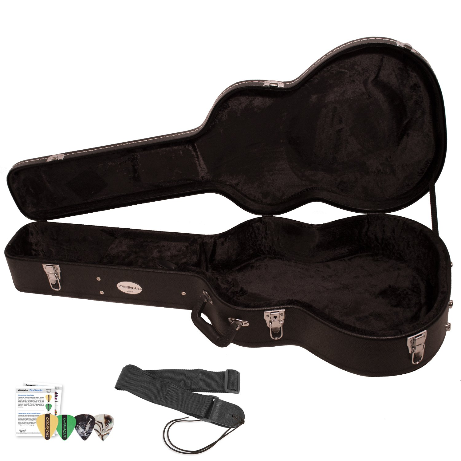 fff411eaf3 Amazon.com: Acoustic Guitar Hard Case (CC-AHC) with Guitar Strap & Planet  Waves/GoDpsMusic Pick Sampler: Musical Instruments