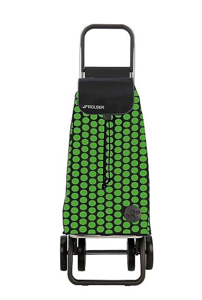 Rolser Pack Luna Logic Dos+2 - Carro de compra plegable de 4 ruedas, color verde y negro