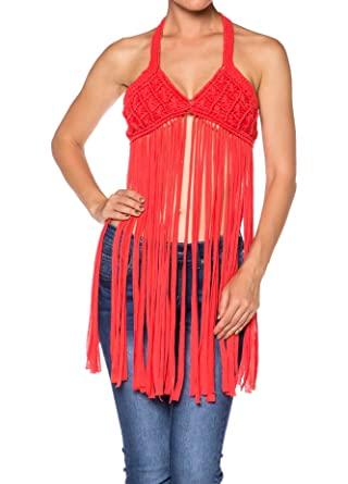 Apparel Sense As Sexy Crochet Fringe Open Back Sleeveless Halter