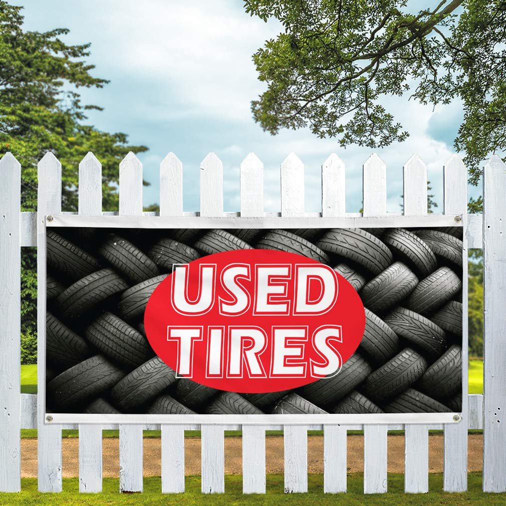 44inx110in One Banner Vinyl Banner Sign Used Tires #1 Style O Business Banners Marketing Advertising red 8 Grommets Multiple Sizes Available