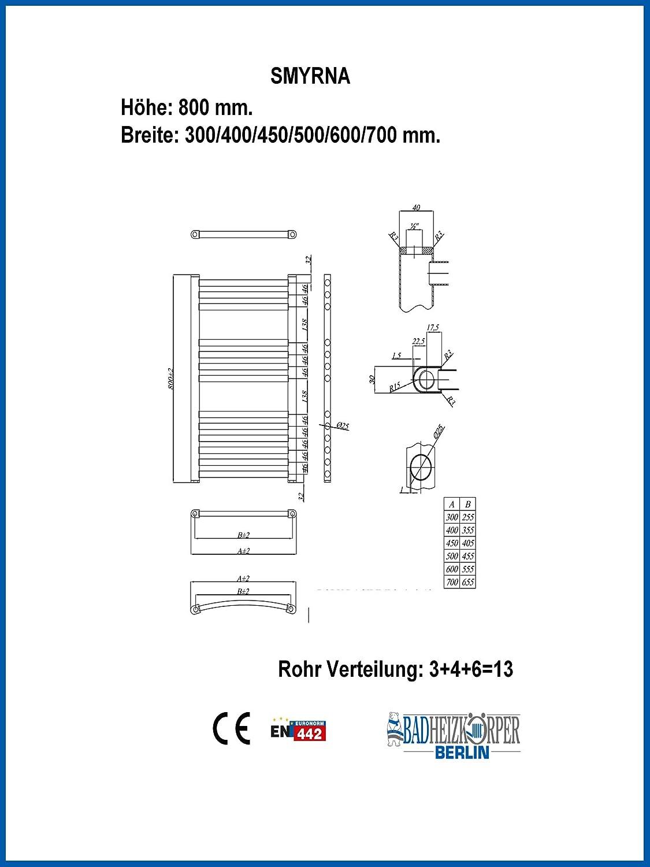 Badheizk/örper SMYRNA Wei/ß 500 x 800 mm Gerade Standardanschluss Handtuchtrockner Handtuchw/ärmer