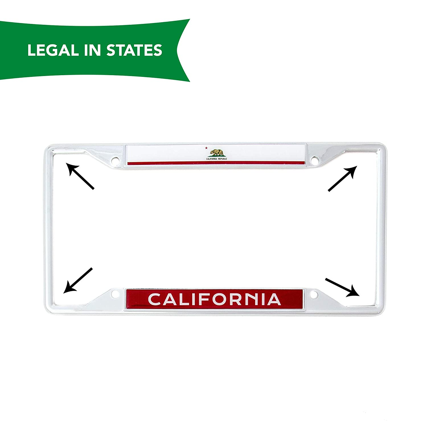 Desert Cactus State of California Flag License Plate Frame for Front Back of Car Vehicle Truck Californian