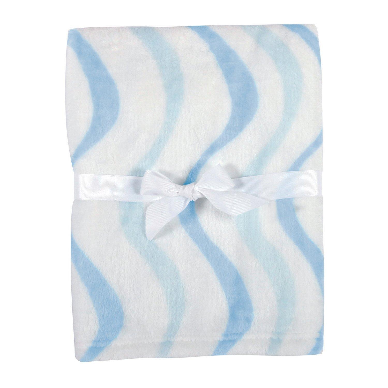 Stephan Baby Snuggle Fleece Crib Blanket, White with Blue Waves