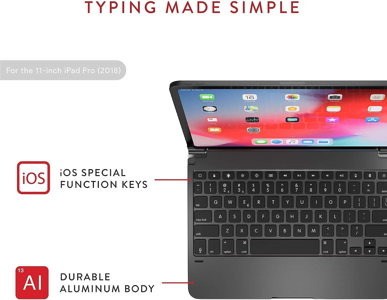 Long Battery Life Aluminum Wireless Bluetooth Keyboard with Backlit Keys Brydge Pro 12.9 Keyboard for iPad Pro 12.9-inch 3rd Generation 2018 Model Renewed Silver