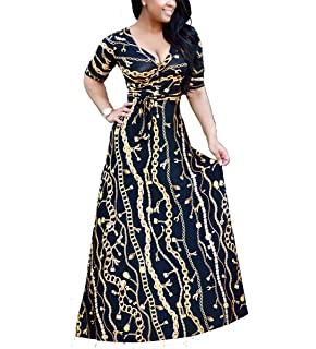 0aa63db7e3 shekiss Women s Sexy V Neck Floral Long Sleeves Maxi Dresses Casual Loose  Party Prom Ladies Outfits