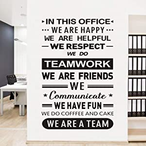 "AnFigure Teamwork Wall Decals for Office, Inspirational Wall Decals, Quote Living Room Bedroom Classroom School Kid Teen men women Home Art Decor Vinyl Stickers In This Office We Do Teamwork 18""x27.6"""