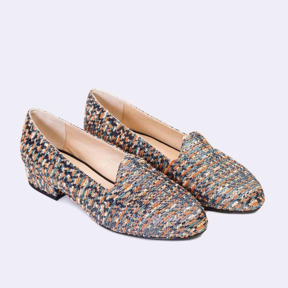 GENNIA Cibeles Marino Naranja - Mocasines para Mujer de Textil Chanel y con Mini Tacón de 2 cm: Amazon.es: Zapatos y complementos