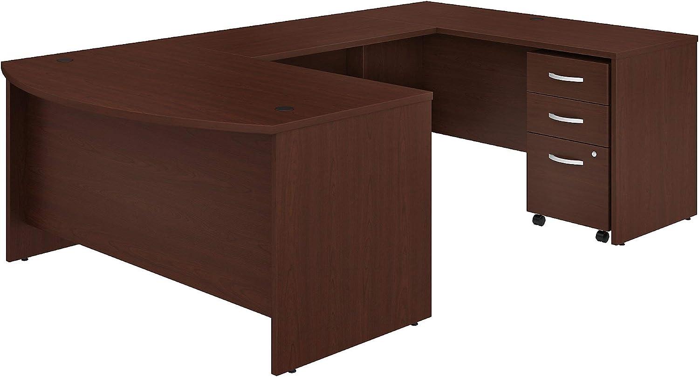 Bush Business Furniture Studio C U Shaped Desk with Mobile File Cabinet, 60W x 36D, Harvest Cherry
