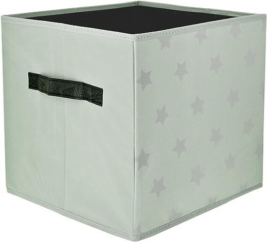Promobo – Cubo cesta de almacenaje plegable con asa Déco escandinava estrella gris 30 x 30 x 30 cm: Amazon.es: Hogar