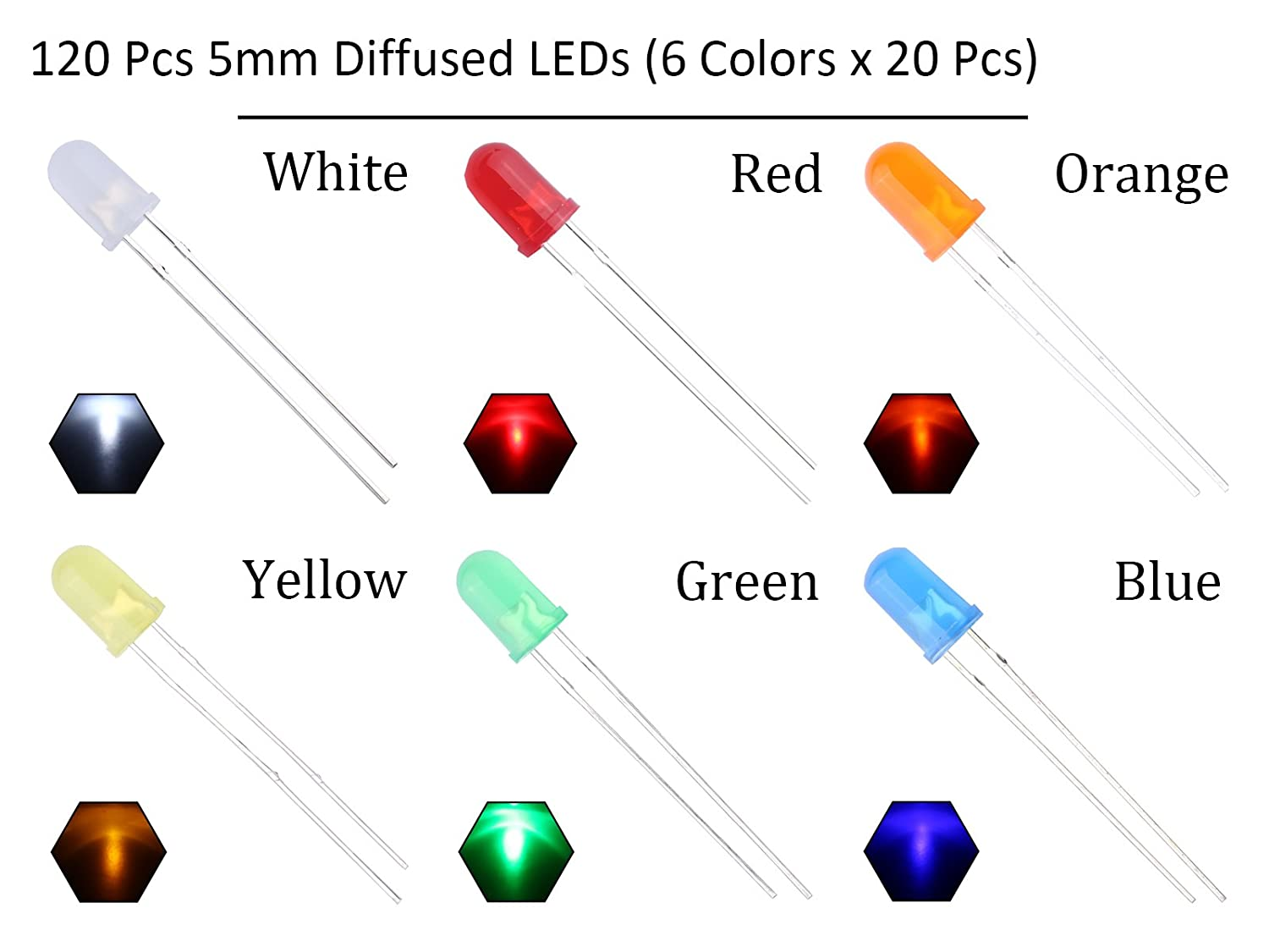 Included//Light Emitting Diodes Red Green Blue Multicolor EDGELEC 100pcs 5mm RGB Tri-Color 4Pin LED Diodes Common Cathode Diffused Round Top 29mm Long Feet +300pcs Resistors for DC 6-13V