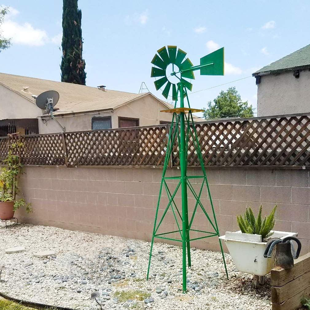 FDW Windmill 8FT Yard Garden Metal Ornamental Wind Mill Weather Resistant Decoration for Backyard Or Lawn,Green